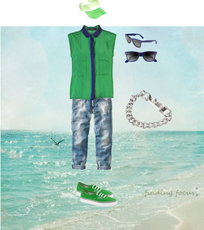 Male Boardwalk Outfit by devodiva featuring a chain braceletYigal Azrouël sleeveless silk top, £2497 For All Mankind boyfriend jeans, €239Vans trainers, $75Eddie Borgo chain bracelet, €345Ray-Ban ray ban sunglasses, $155ASOS brimmed hat, $25Into the Sun - Coastal Beach Cottage- Seagull Over Aqua, Turquoise…, $25