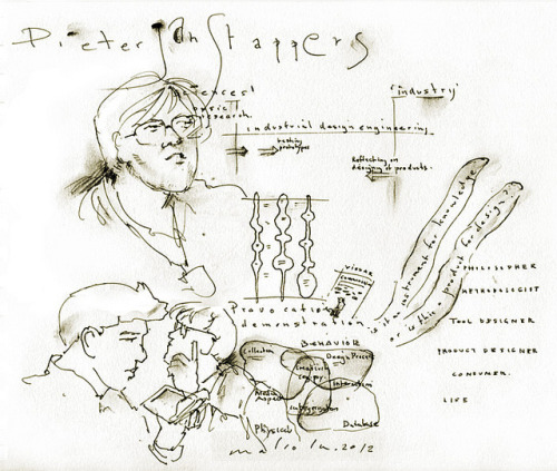 Pieter Jan Stappers by mal12345colm on Flickr.Diagrams from my PhD thesis used in a presentation by my promotor, picked up by the audience in these nice sketchnotes