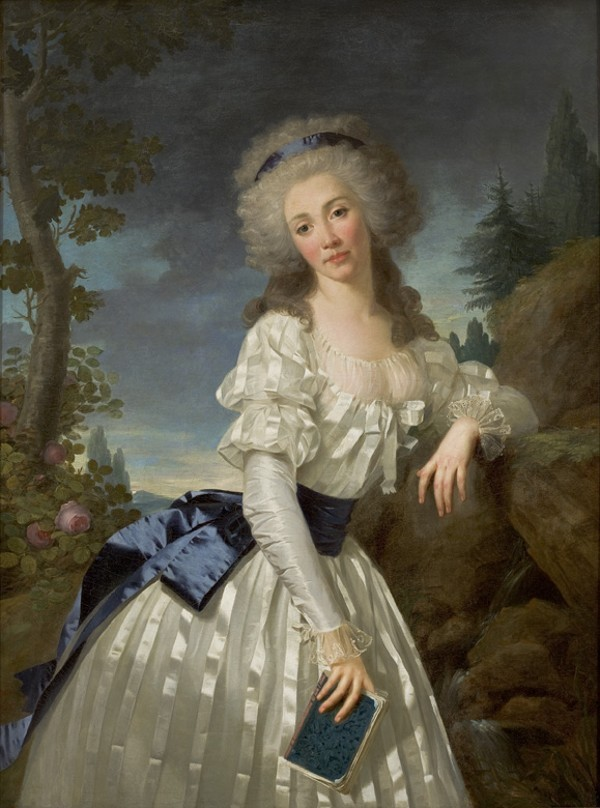 Antoine Vestier, 1785 Portrait of a Lady with a Book, Next to a River Source   The lady, equal parts doe-eyed and longing, upon first glance looks a little pensive, maybe even a touch bored.   There's a slight pursing to her lips, her head cocked as if she might at any moment sigh.   Her finger is wedged in a book, keeping place.  Has she been interrupted?  Distracted by a provocative thought?   And this lady, after reading the heroics of a particularly dashing fellow, is wishing ….   This portrait reminds  of the one of Marie Antoinette by Vigee Lebrun.  Although the dress here is of fancier fabric, the design is similar to the chemise a la reine with perhaps the exception of long ruffled sleeves.