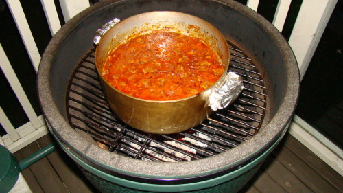 Baked beans on the Big Green Egg after about two hours.