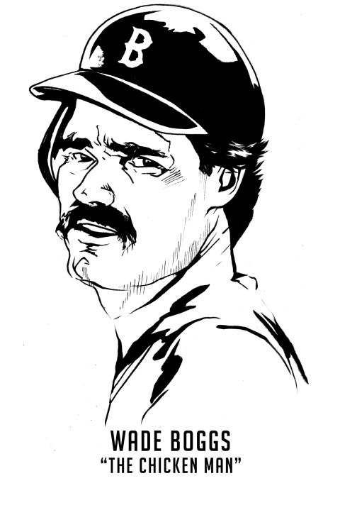 "I have a really hard time deciding which Wade Boggs I want to remember. Option A is the spray hitter of my youth who couldn't be kept off base, proudly sporting my hometown ""B"" on his helmet. Option B is the jackass riding the horse around Yankee Stadium. Option C is the greasy and allegedly racist sex fiend of Margo Adams infamous Penthouse disclosure. Honestly, not the best set of options. While the truth likely lies somewhere in between, one thing's for certain- the ""Chicken Man"" was really, really good at hitting a baseball. From 1982-1988, Boggs hit below .349 only once, while rolling out 7 straight seasons of 200+ hits from 1983-1989. The man was a machine and has the rare distinction of being the only Red Sox player to ever give me an autograph inside the walls of Fenway Park. Can you blame me for not wanting to hate the guy? Instead, I think I'll choose to remember him as the guy who purportedly drank 50-70 Miller Lites from clubhouse to clubhouse on cross-country road trips."