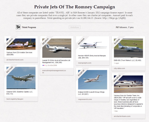 "Private Jets Of The Romney Campaign All of these companies are listed under ""TRAVEL: AIR"" in Mitt Romney's January 2012 campaign finance report. In some cases they are private companies that own a single jet. In other cases they are charter jet companies. Amount paid to each company in parenthesis. Total spending on private jets was $1,008,144.23."