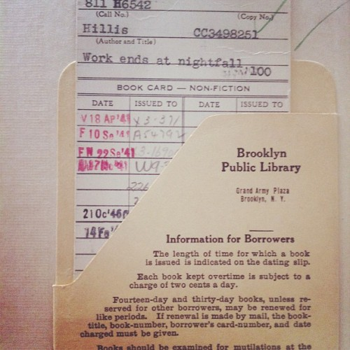 lrw:  Brooklyn Public Library, book checkout circa 1941 (Taken with Instagram)