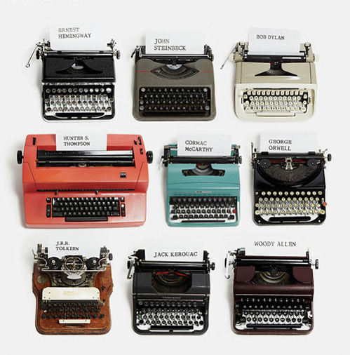 thepenguinpress:  Famous writers and their typewriters.  Tolkien's or Orwell's I think.