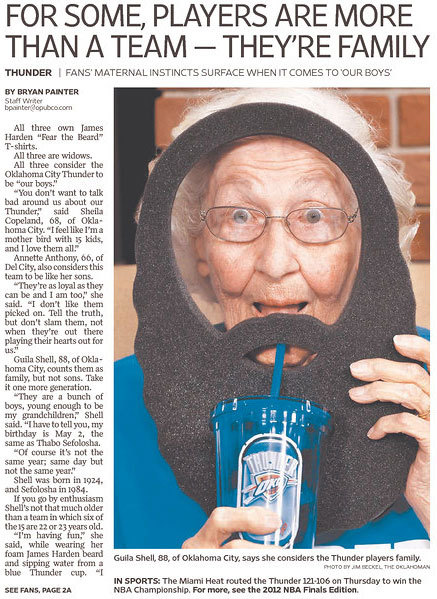 CUTE OLD LADY ALERT. OKC still loves their Thunder. Amazing front page of the @NewsOK.