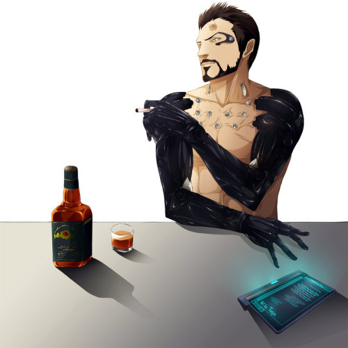 Smoke break. rileysmisadventures:  Adam Jensen by ~DesertmanDrake