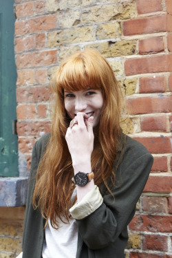 Angelica wears the Timex Originals Easy Reader with tan leather strap. Angelica was photographed by Jackie Dixon in Shoreditch as part of the Timex Street Styling activity