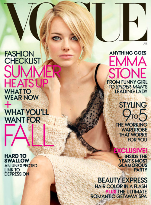BeLighter Emma Stone by Mario Testino for Vogue US July 2012, Cover  Emma Stone in Nina Ricci