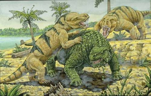 lostbeasts:  fuckyeahgorgonopsids:  Inostrancevia and Scutosaurus  the one at the back looks kind of like a freaky gorilla