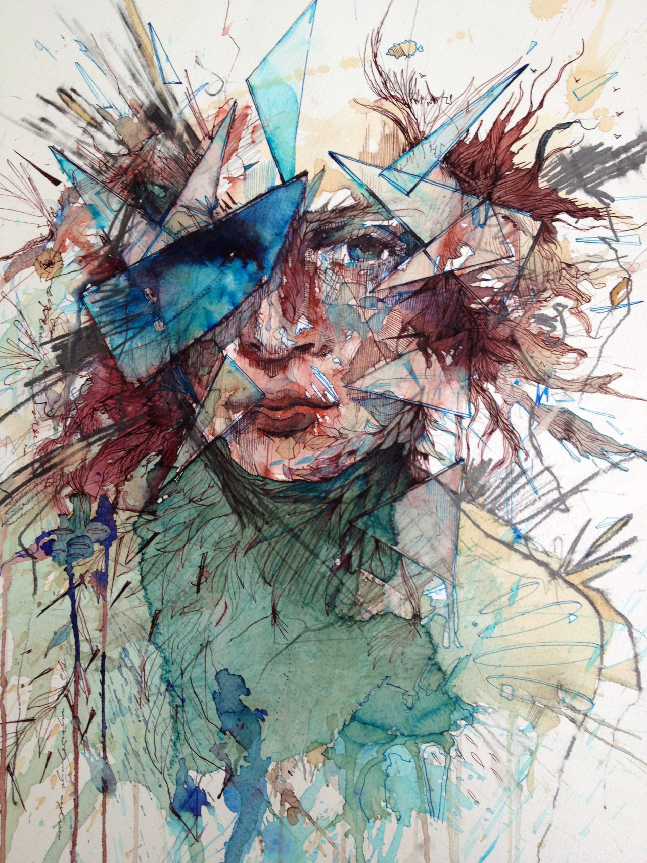 carnegriffiths:  Breaking Through - Ink and Tea on paper 56 x 75cm