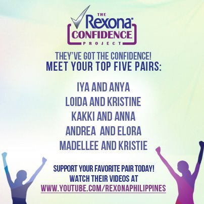 WE MADE IT TO THE TOP 5! <3 Thank  you Rexona Philippines :) To help us win, please check out our Audition video http://www.youtube.com/watch?v=y9G8fmT_-IY