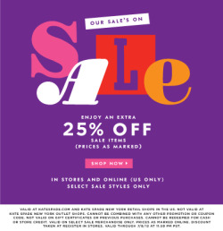 we've got a sweet treat for you: our sale is on sale! enjoy an extra 25% off select sale items in stores and online (us only): http://bit.ly/LM1ysP