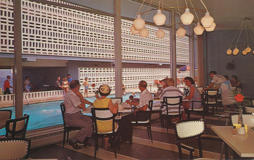 cardboardamerica:  Thunderbird Motor Lodge - Virginia Beach, Virginia Ocean at 35th Street Virginia Beach, Virginia The New Look - an interpretation of Comfort, Recreation and Ocean Scape Dining. Every room has a Window-wall and Private Veranda - Overlooking the Surf. Completely Modern. Year 'Round Facilities. Ample Drive In Free Parking. Gourmet Dining or Room Service. Protected Warm Pool. Sun Patio.