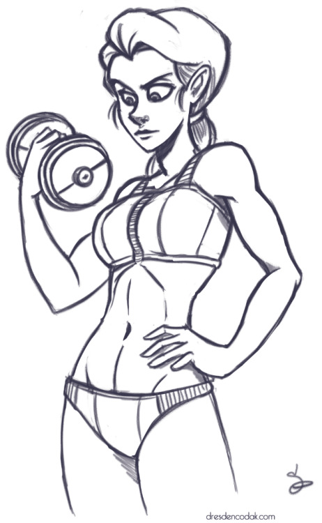 Warmup drawing: did you know that Vonnie was buff? It's true! She has a very high fitness score as determined by the Department of Kilter.