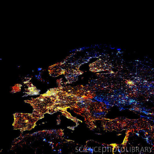toke-of-time:  Europe at night, showing the change in illumination from 1993-2003. This data is based on satellite observations. Lights are colour-coded. Red lights appeared during that period. Orange and yellow areas are regions of high and low intensity lighting respectively that increased in brightness over the ten years. Grey areas are unchanged. Pale blue and dark blue areas are of low and high intensity lighting that decreased in brightness. Very dark blue areas were present in 1993 and had disappeared by 2003. Much of western and central Europe has brightened considerably. Some North Sea gas fields closed in the period.