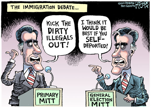 nonplussedbyreligion:  robrogers:  Primary Mitt - 21 Jun 2012  I cannot say often enough how the prospect of a President Romney scares the living shit out of me.  This is huge because I'm not easily scared having survived living in Florida for both G.W. Bush elections, and Arizona for McCain.