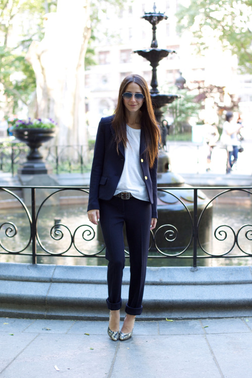 toryburch:  S is for Suiting Something Navy Blogger Arielle Nachmani wears our Beverly Suit, bringing an understated cool to the season's newest staple.