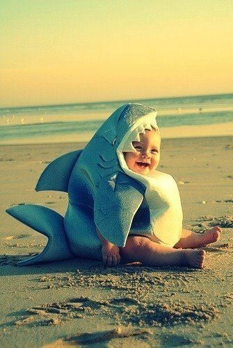 Cute kiddos / Shark baby on the beach. So cute! on We Heart It. http://weheartit.com/entry/29991292