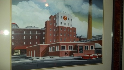 Artist's rendering of the Narragansett brewery in the 1950s.