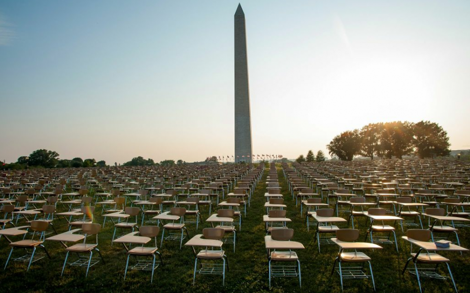 Empty desks on National Mall represent high school drop-outs  As part of their campaign to prioritize education and get presidential candidates talking about it, the College Board setup 857 empty desks on the National Mall to represent the estimated number of high school drop-outs per hour.