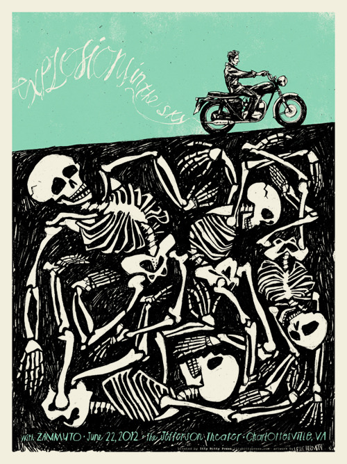 Leslie Herman:  Explosions In the Sky.  New screen-printed poster for their concert tonight at the Jefferson Theater in Charlottesville.  Pick one up at the show!