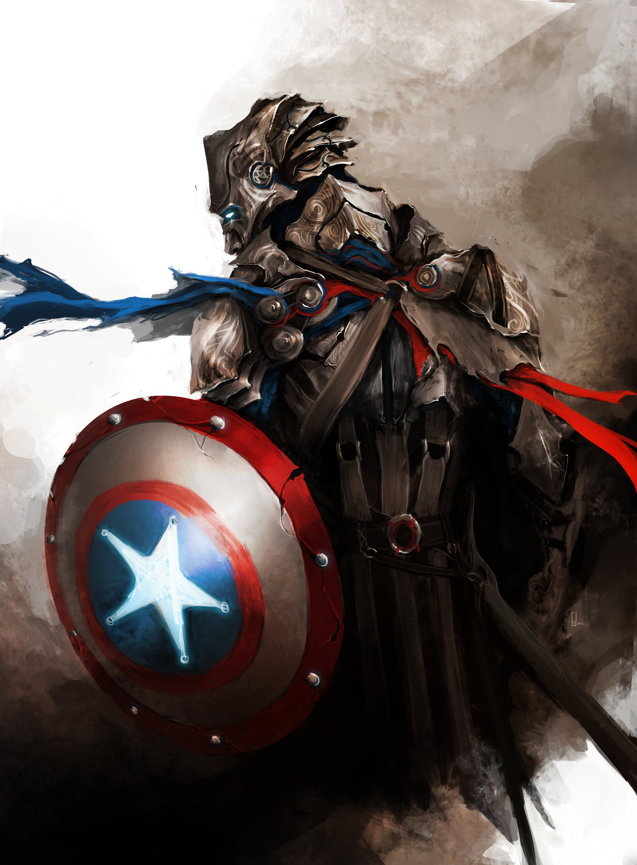 arkhane:  Medieval fantasy Avengers:Loki, Hulk, Captain America and Hawkeye. Art by theDURRRRIAN  These are awesome. I love the feel and tone of them.
