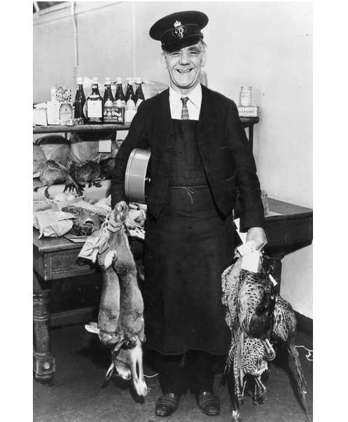 """In 1936, Post Office rules stated that game, including rabbits, could be posted with nothing but a neck label as long as 'no liquid is likely to exude'."" via blackandwtf & kateoplis"