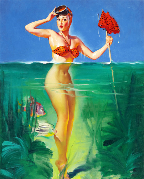"""Surprising Catch"" by Gil Elvgren, 1952"