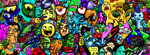 Crazy Cartoon Faces 2 Facebook Cover