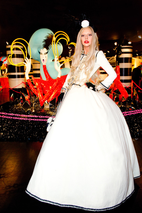 Lady Gaga at her 2011 Christmas Barney's New York Workshop.