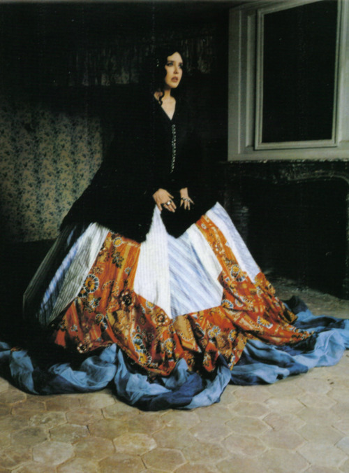 glamandvanity:  Isabelle Adjani in 'I. Adjani!' Photographer: Deborah Turbeville Skirt: John Galliano F/W 2004/05 Vogue Italia September 2004