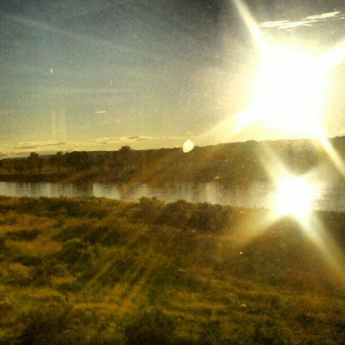 Double sun #trainride #Montana #Badlands #River (Taken with Instagram)