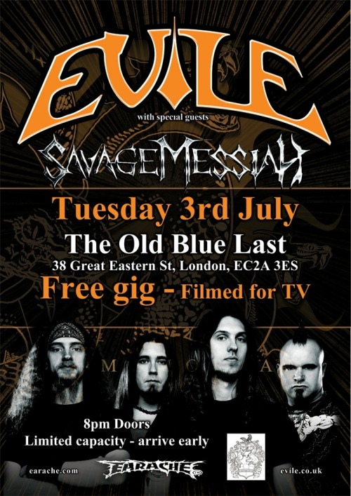 FREE Evile show in LONDON Donations for the British Lung Foundation being taken on the door http://www.bravewords.com/news/185781