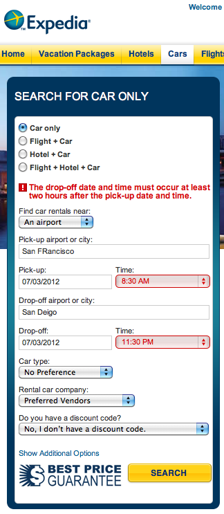 I wonder how much $$ expedia is losing because of this validation error.