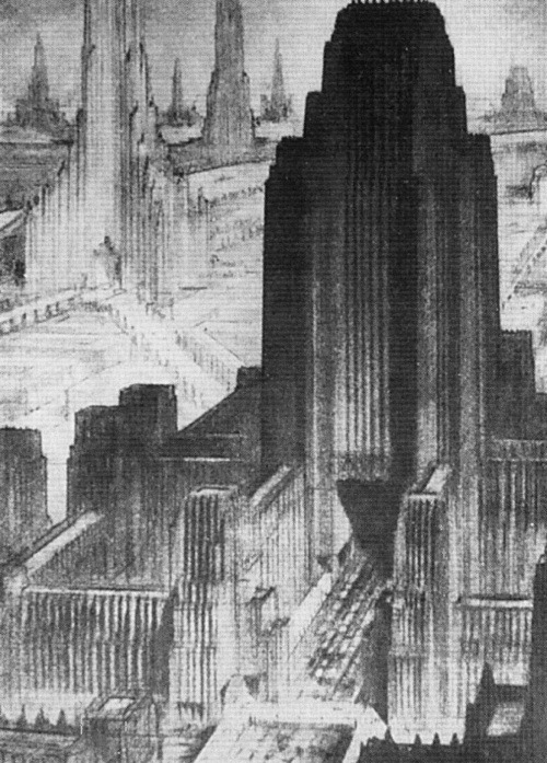 Metropolis of Tomorrow by Hugh Ferriss (American delineator, 1889-1962.)