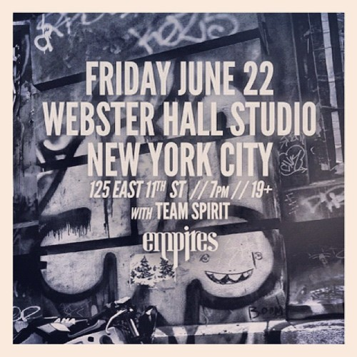 NYC TONIGHT at @StudioAtWebster with @hrvrdmusic and @goteamspirit | 7p doors 19+. been looking forward to this one (Taken with Instagram)