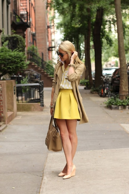 what-do-i-wear:  Skirt: ASOS. Shirt: Sandro. Trench: GAP. Purse: Celine. Sunglasses: Karen Walker. Shoes: Pour La Victoire. Jewels: David Yurman, Jcrew, Pomellato, Stella&Dot, Kate Spade. Monogram Necklace: Max&Chloe.  (image: atlantic-pacific)