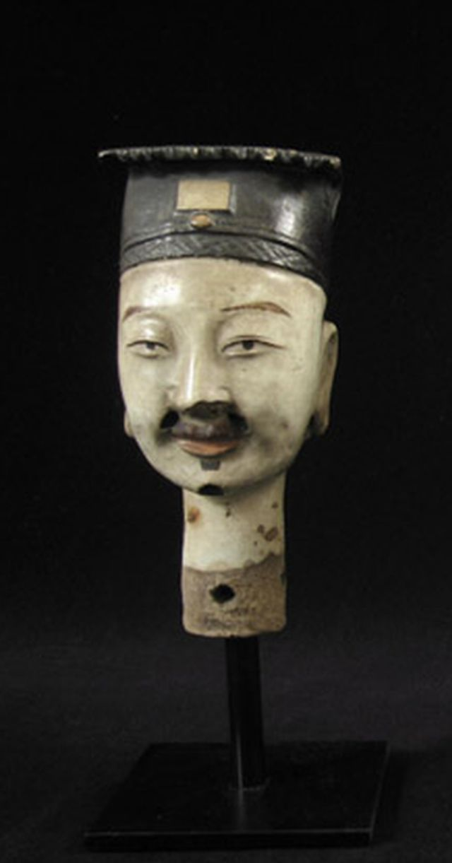 Ceramic puppet head, China detail
