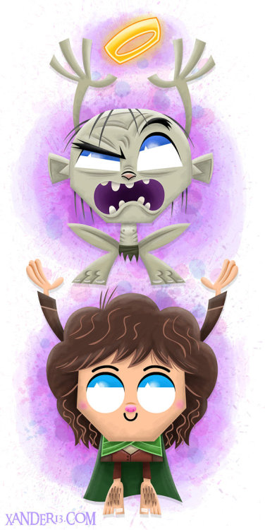 F•ckin cutiest Frodo, n Gollum you ever saw! By: Xanderthurteen  ETSY