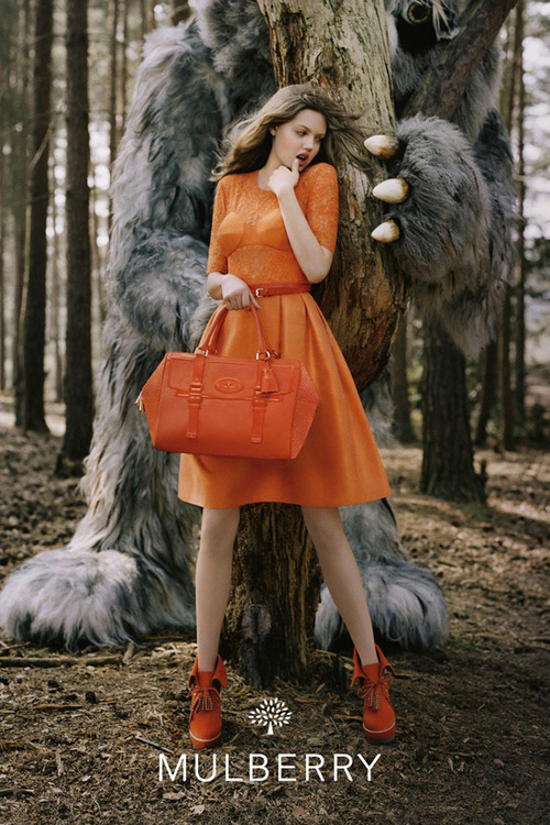 "The ""Big Bad Wolf"" Meets ""Where the Wild Things Are"" By Jauretsi Images of the new Mulberry campaign are swimming all over with the darkest yet chic archetypes of ""little girl lost in the woods"". Photographer Tim Walker snapped these cinematic shots for the Mulberry's Autumn/Winter 2012/13 campaign. Until you get the new goods, here's some vintage Mulberry.  [MORE]"