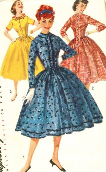1950 Misses Shirtwaist Dress Vintage Sewing Pattern, Full Skirt, Rockabilly, Simplicity 1722