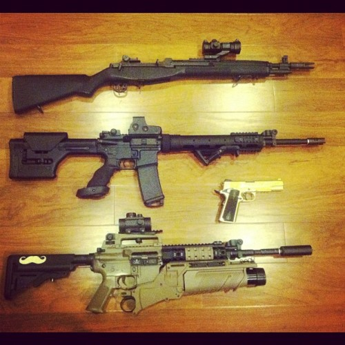 janussaint:  M14, Blackwater BW15 sniper rifle, M4A1 EGLM grenadier #killingangels #airsoft #bw15 #m4 #m14 #rifle #gun (Taken with Instagram at Outer Heaven)