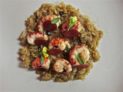 butter poached crawfish with dirty rice want