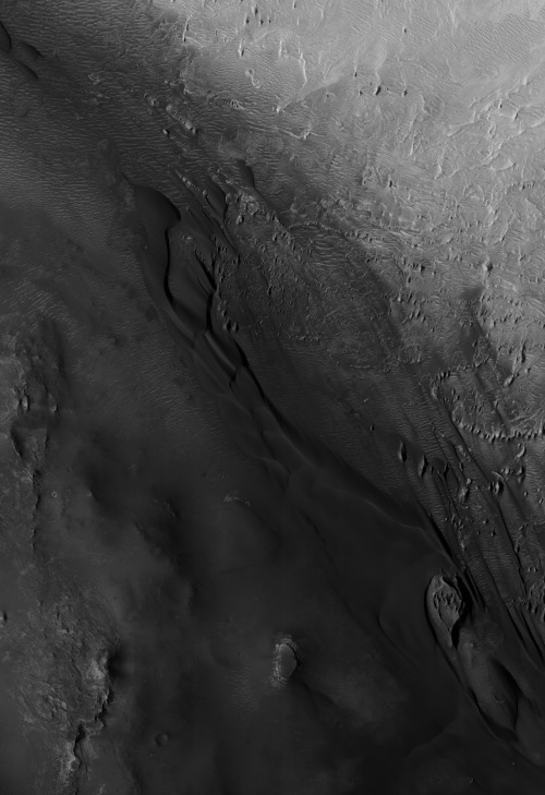 "the specter: Surface of Mars, photographed by Mars Reconnaissance Orbiter, 11th April 2007.  ""Partially Infilled Unnamed Crater in Southern Arabia"". Detail of a larger mosaic image of photographs from the HiRISE camera. Elsewhere in Arabia Terra.  ""The specter of Vietnam has been buried forever in the desert sands of the Arabian Peninsula.""— George H. W. Bush, March 1991.  Image credit: NASA/JPL/UoA."