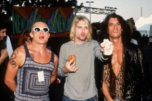 flats-sharps:  Flea of RHCP, Kurt Cobain of Nirvana, and Joe Perry of Aerosmith