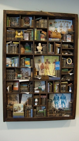 Miniature medical-themed bookcase/library with INCEPTION MINI DOCTOR's OFFICE!! From bagusitaly on etsy, who is clearly a master of this craft!