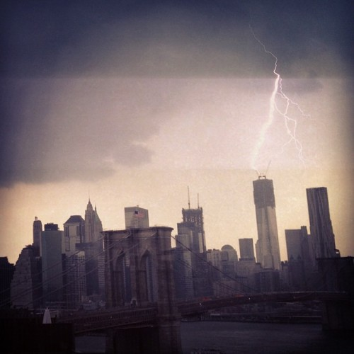 chrispetescia:  Lightning over NYC screws up iPhone sensors!  (Taken with Instagram at Field of Dreams @CarrotCreative)  I tried (and failed) to get this exact photo from one floor down at Pontiflex HQ.