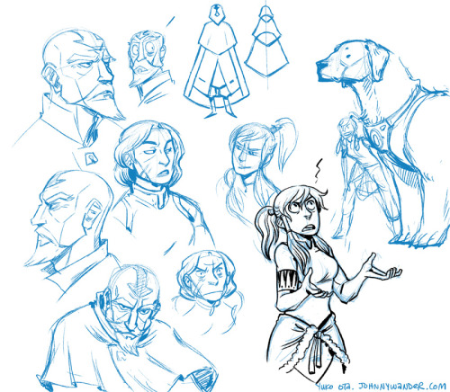 My Favorite Avatar Bros.  fanart friday.  photoshop noodling. Oh dang, Korra season finale tomorrow!  I'm super excited!  Would've noodled with this more, but it's starting to thunderstorm over here and I should probably disconnect from the cintiq. One thing that I love about the new Avatar series is how adults are allowed to be fully-formed characters and be present.  Heck, nearly half of the main cast is over the age of 30!  And they're all amazing and fun and rounded and flawed. It's refreshing to see a cast of adults in a kids' show being allowed to be adults and not clueless foils. Also Tenzin has a rockin' coherent design and he's made out of a tower of pointy bells.