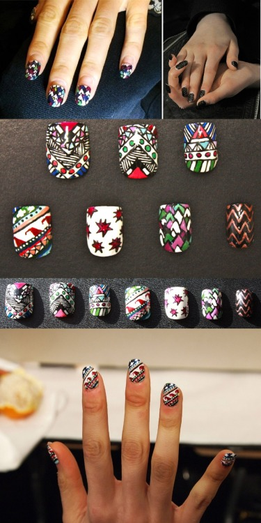 "labohemeinvisible:  ""Sarah Havens of Zebber Nails made these rad nails to go with our Fall 2012 prints. She did an awesome job, and we're obsessed over here at MH. You can buy these HERE and plus check out the evil eye nail that came from us on her etsy shop!"" - Mara Hoffman."