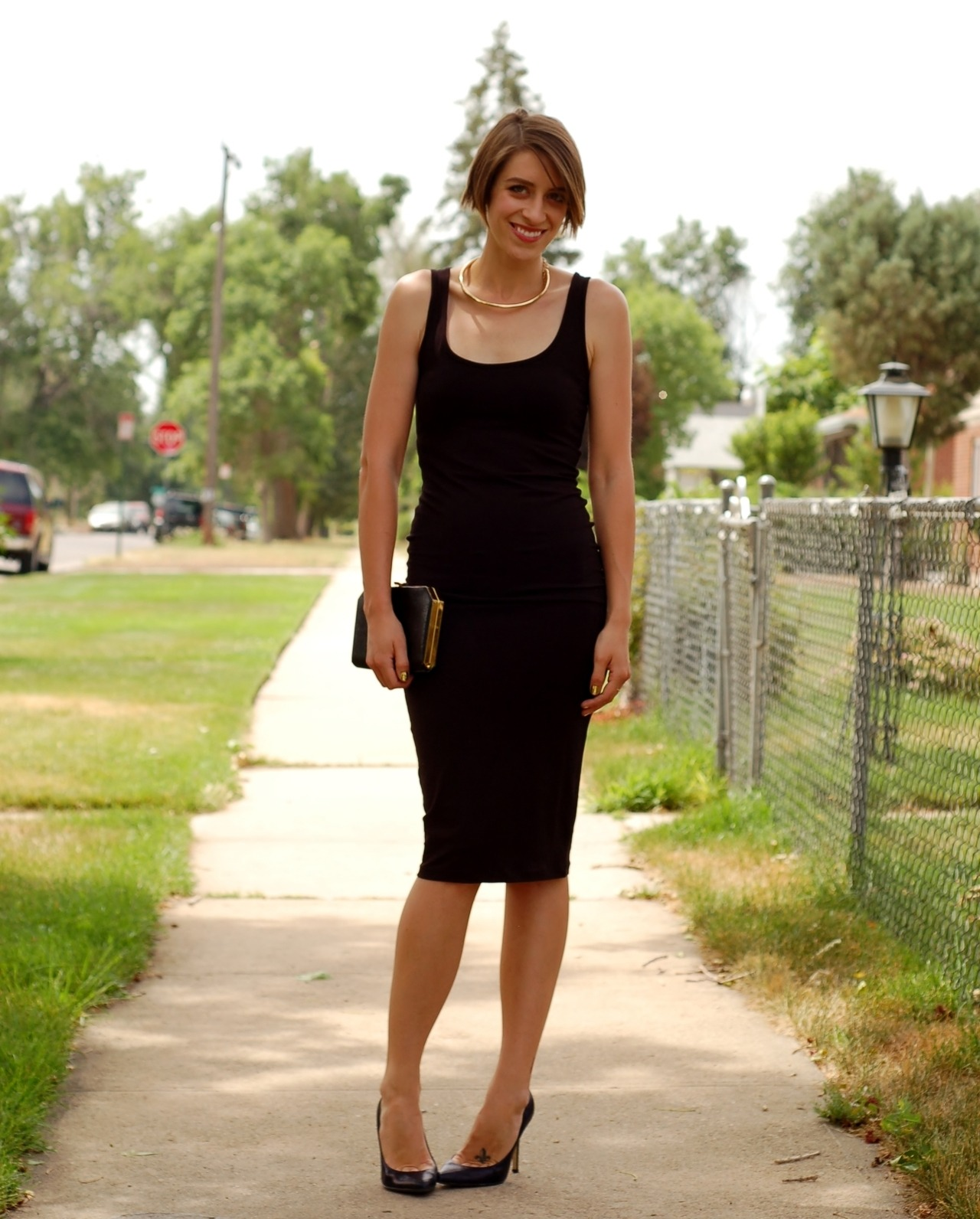 asos dress, h&m necklace, aldo heels (dyed black), vintage clutch, nail rock nail wraps in gold
